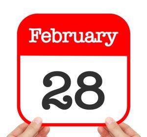 February 28 written on a calendar